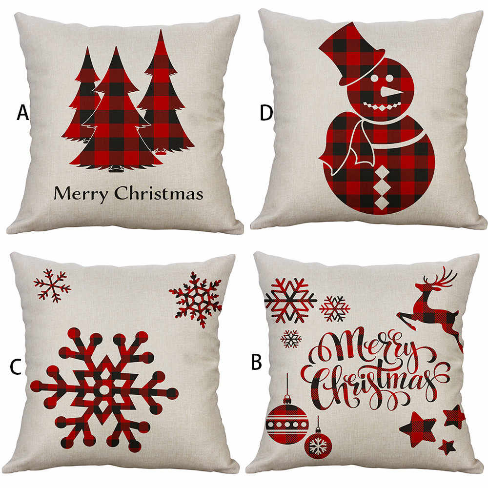 Pillowcases Christmas Sofa Bed Home Decor Throw Pillow Case Cushion Cover Funda Cojin Housse de Coussin Cojines Pillow Cover