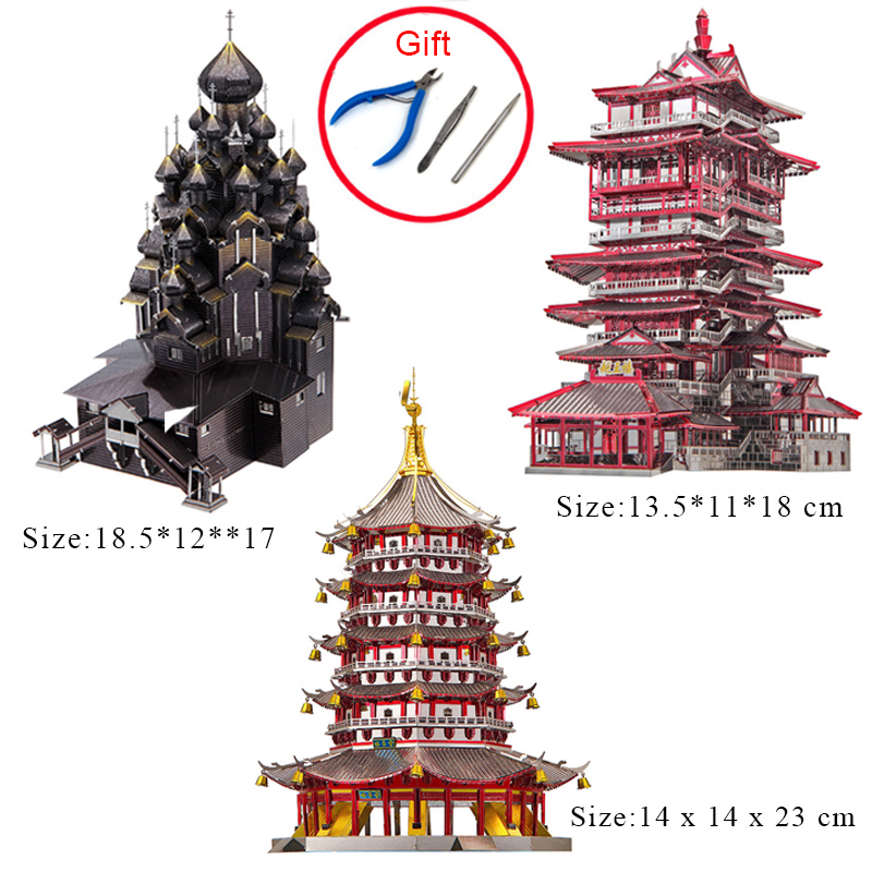 Piececool 3D Metal Puzzle Yuewang Tower Building Model Kit DIY 3D Laser Cut Assemble Jigsaw Educational Toys For Adult Children new arrival gift kizhi church model metal collection diy assemble game toys for family children adult iq educational alloy item