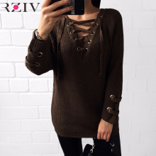 RZIV 2016 womans sweater lengthy informal lacing sweater knitted part of stable colour sweater