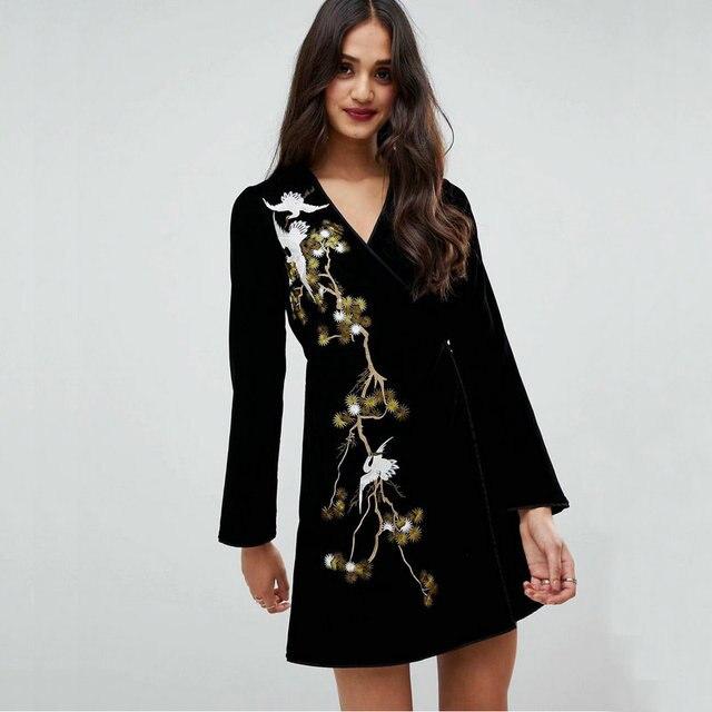 79b07e887 Las nuevas mujeres de la grúa bordado vestido moda especial Vintage con  cinturón de estilo japonés