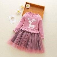 BibiCola girls dress spring autumn cartoon long sleeve dresses toddler girls fashion princess style clothing brand lace costume