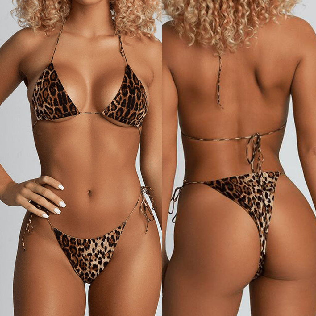 Padded Swimwear Bikini Bandage Beachwear Bathing-Sets G-String Micro Thong Leopard-Print title=
