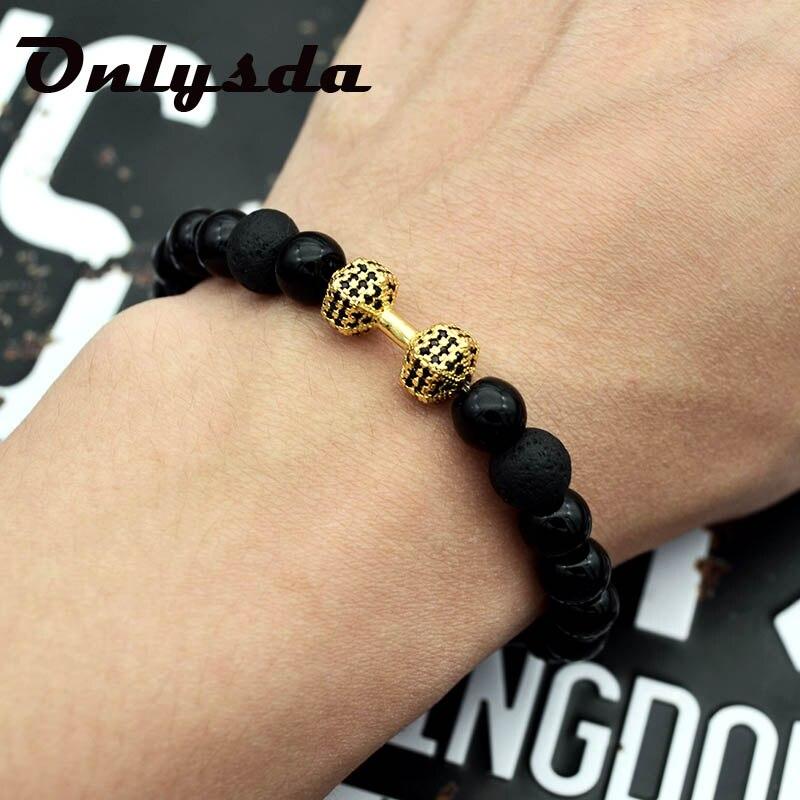 Onlysda Gold Dumbbells and Black beads Bracelet Men Stone Jewelry Bracelets For Women Pulseira Masculina Bangles Love giftOSL112