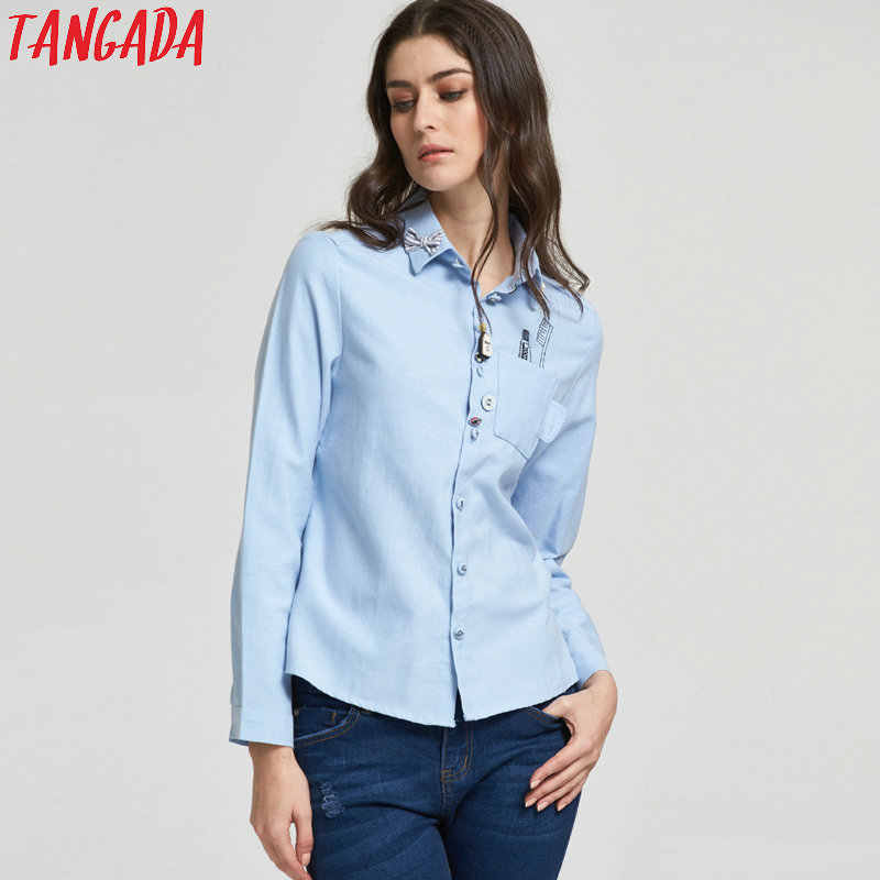 94aaa2bb5ccd50 ... Tangada Women Fashion Elegant School Style Toothbrush Print Pocket  Button Turn-down Collar Blouse Bow ...