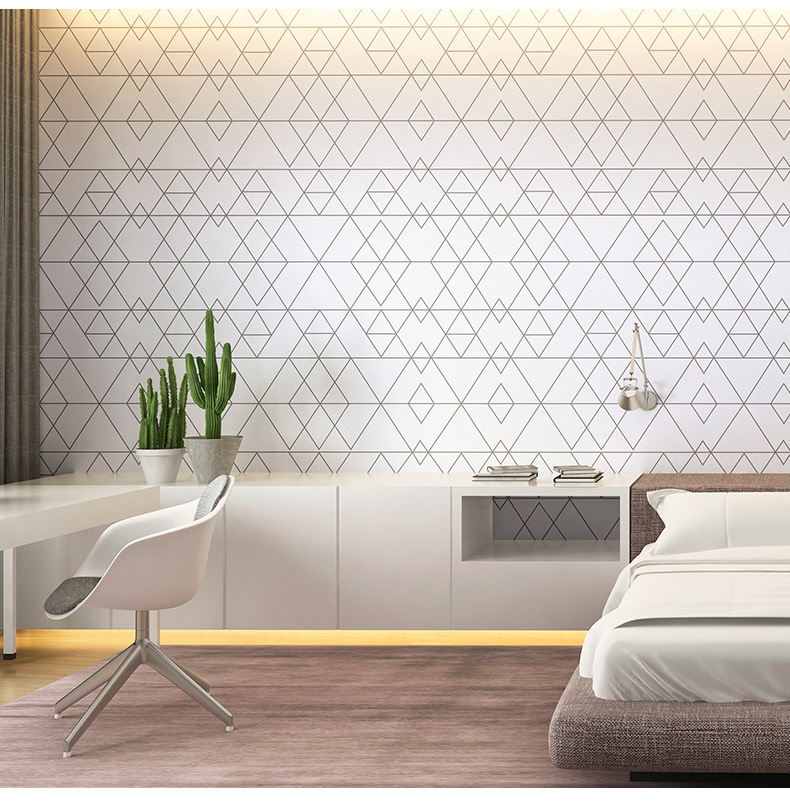 Simple 3d Geometrical Pattern Wallpaper Waterproof Wall Background For Living Room Pvc Wall Paper Roll Stereoscopic Look 10m