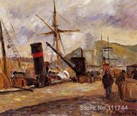 Steamboats Camille Pissarro paintings for sale Landscape art Handmade High quality