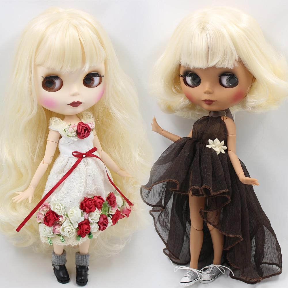 ICY Nude Blyth Custom Doll No BL340 Blonde wavy hair Matte face 1 6 bjd pullip