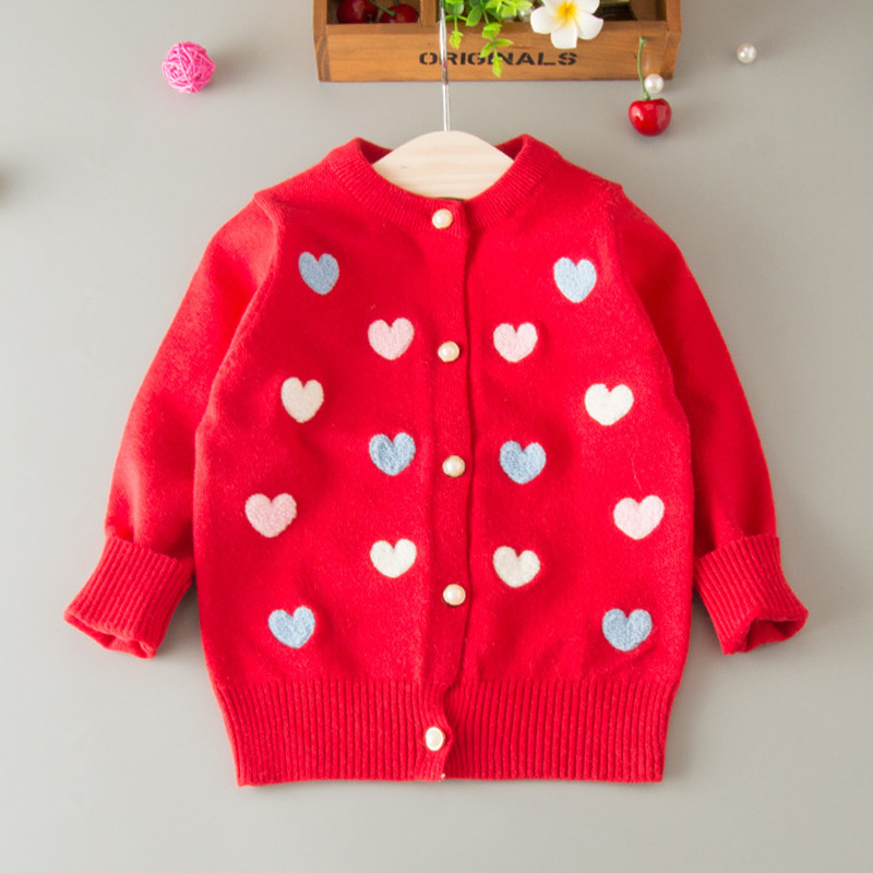 Sweater Cardigan For Girls Heart Cotton Solid Sweater Coat For Girl - Children's Clothing - Photo 3