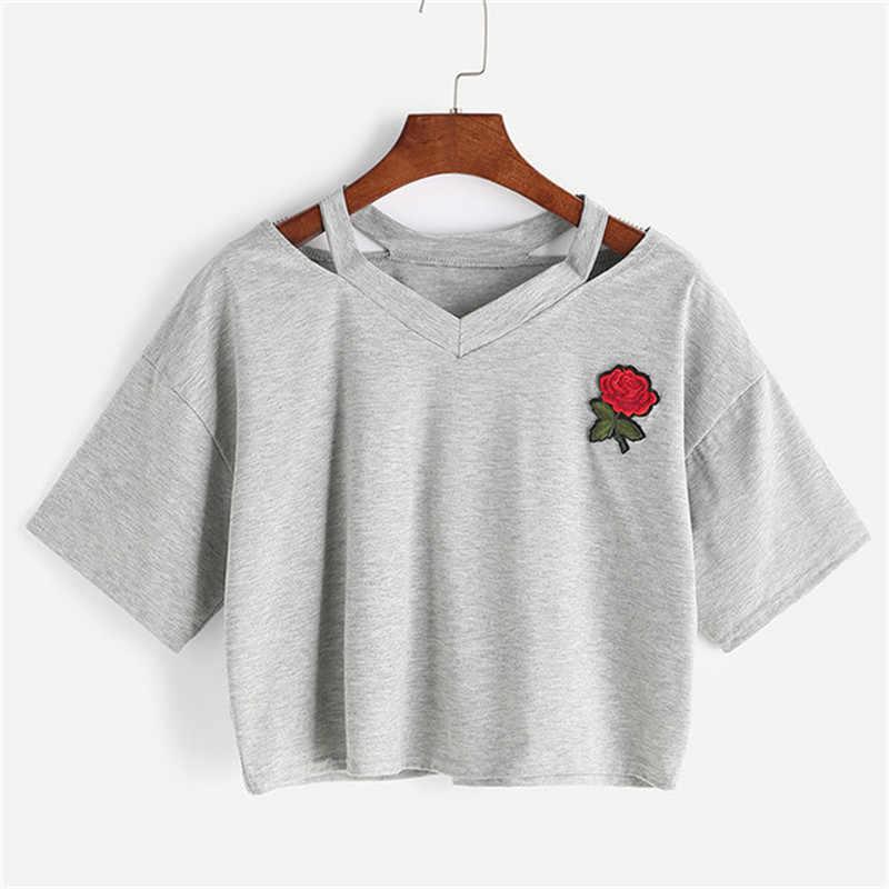 Harajuku Crop TOP Rose Embroidery เสื้อยืด Femme ใหม่สั้น T เสื้อแฟชั่นฤดูร้อนเซ็กซี่ Hollow OUT สั้น TEE
