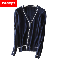 zocept 2018 Spring New Cashmere Cardigan Women V Neck Cashmere Jacket Fashion Knitted Wool Sweater Coats Short Bottoming Shirt