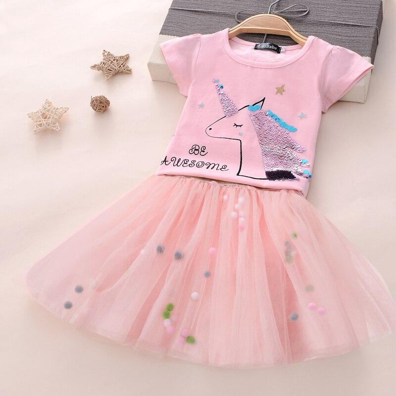 bd76c42d8fb2 Bebé niña unicornio vestido de fiesta disfraz de princesa para niños ropa 3 4  5 6 7 8 años trajes de cumpleaños poco chica ropa de los niños