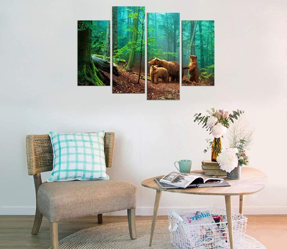 Холст стены Искусство форес зеленое дерево природа Картина Декор стены коричневые медведи семья в лесу готовы повесить картину Прямая поставка