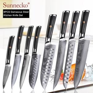 Image 1 - SUNNECKO Damascus Chef Utility Bread Paring Santoku Steak Knife Japanese VG10 Steel G10 Handle Meat Cutting Kitchen Knives Set
