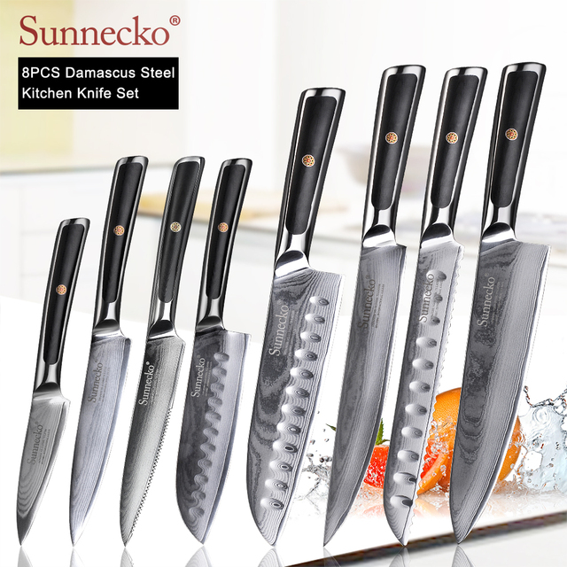 SUNNECKO Damascus Chef Utility Bread Paring Santoku Steak Knife Japanese VG10 Steel G10 Handle Meat Cutting Kitchen Knives Set