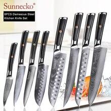 SUNNECKO cuchillo de Chef de Damasco para pelar pan, Santoku, cuchillo de carne japonés VG10, mango de acero G10, Juego de cuchillos de cocina de corte de carne