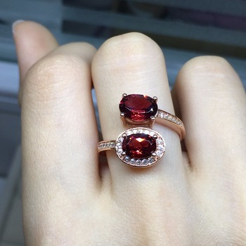 [MeiBaPJ Fine Quality Natural Red Garnet Gemstone Trendy Ring for Women Real 925 Sterling Silver Charm Fine Jewelry