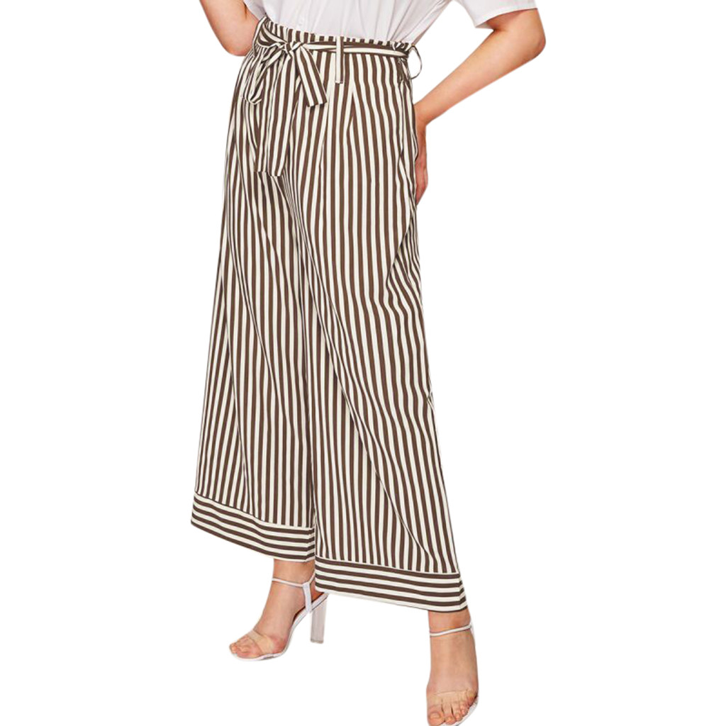 2019 Top Fashion Summer Wide Leg   Pants   Women High Striped Loose high waist Trousers Chic streetwear Sash   pants     Capris   female 7.5