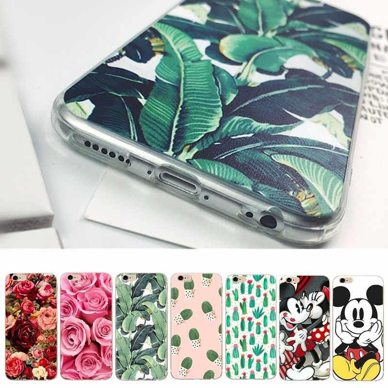Ультратонкий чехол для iphone 7 plus 6s 6 7 8 5S 5se 5 силиконовый мягкий растительный лист цветок Роза милый мультфильм крышка Capa для iphone 6