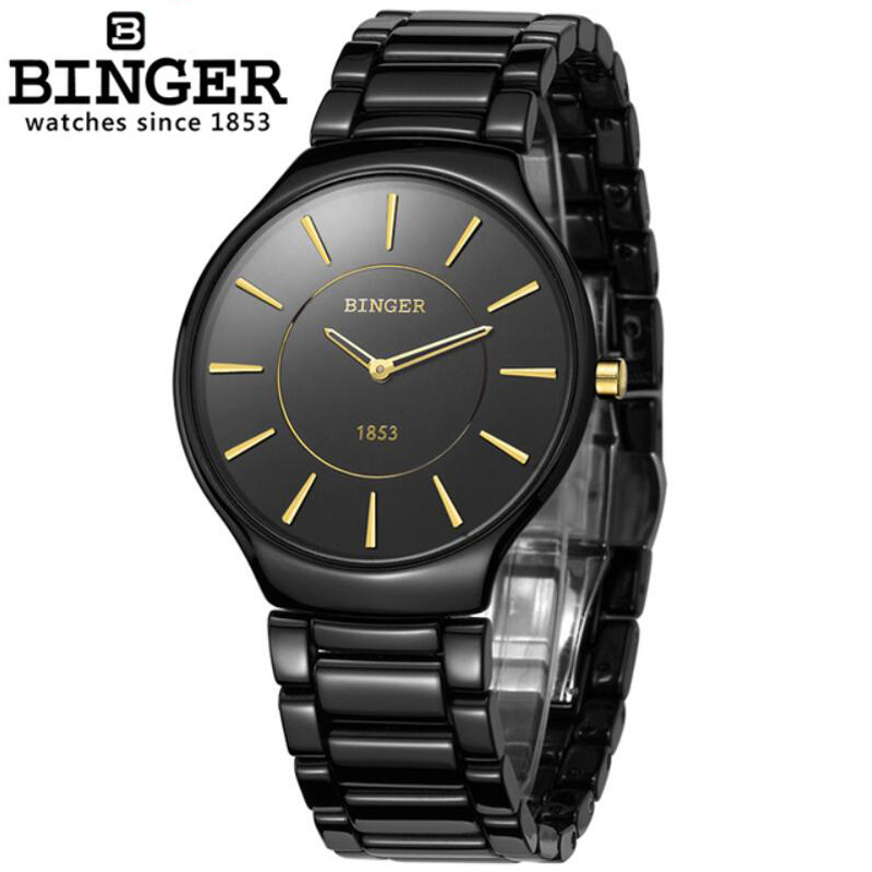 Diving Female Male Watch Top Brand BINGER Waterproof <font><b>100M</b></font> Fashion Sport Quartz Sapphire crystal Watch Women Men Ceramic watches image