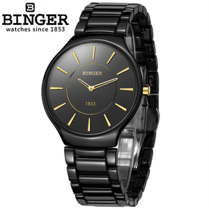 Reloj femenino de buceo marca superior BINGER resistente al agua 100M reloj de cristal de zafiro de cuarzo deportivo de moda relojes de cerámica para hombre y mujer