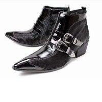 Мужские ботинки высокого качества Натуральная кожа с острым носком конский волос мужские платье модные мотоботы с пряжкой на молнии обувь