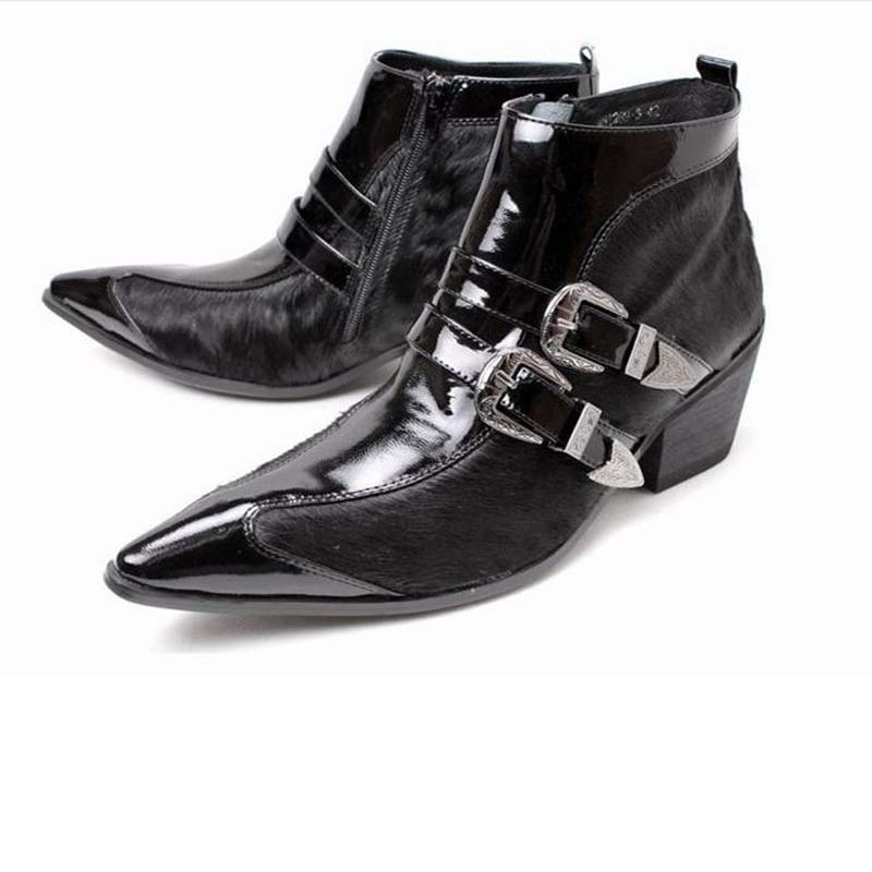 men boots high quality genuine leather pointed toe horse hair men's dress boots fashion buckle motorcycle zipper high heels shoe