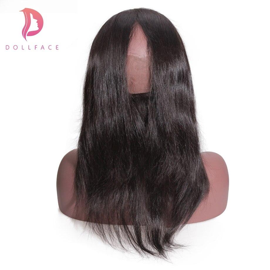 Dollface 360 синтетический Frontal шнурка волос синтетическое закрытие Малайзии прямые волосы с предварительно выщипанные волосы Remy человеческие х