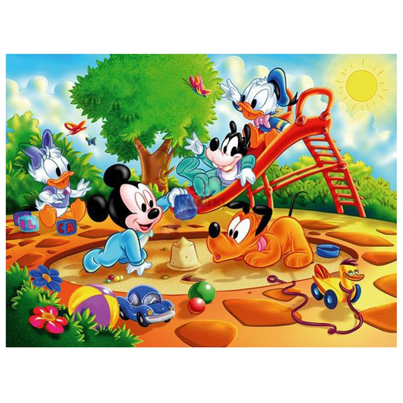 5D Diamond Mosaic Embroidery Cartoon Mickey Mouse and friends play DIY Diamond Painting Rhinestone Cross Stitch Decorative gift image