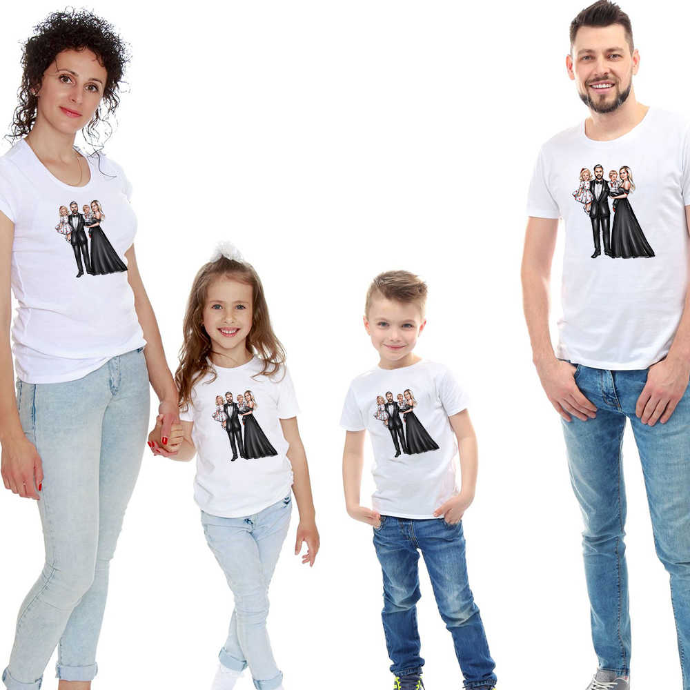 Mamá papá Mini Me bebé familia a juego moda trajes camisetas ropa madre e hija vestidos Padre hijo trajes Look