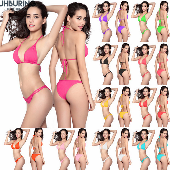 JHBuring bikini Women Swimsuit Solid Bathing Swim Suit Bikini Set Swimwear Biquini Beachwear Maillot De Bain bikinis 2018 mujer 2017 plus size women bikini sexy print push up bikinis black swimwear maillot de bain biquini beach swimsuit bathing xxxl bj068