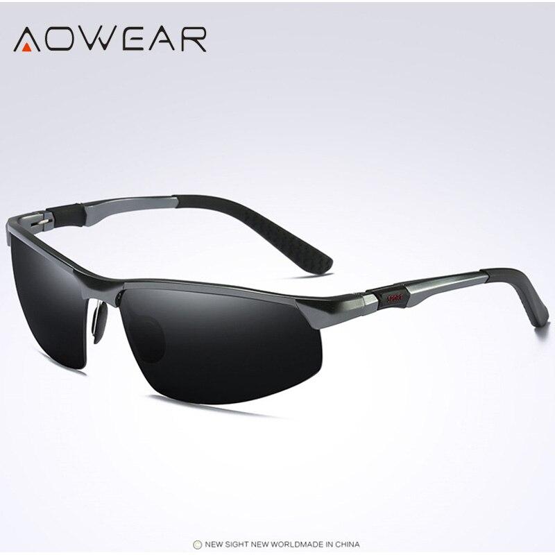 Новое поступление, мужские солнцезащитные очки AOWEAR, поляризационные, спортивные, солнцезащитные очки, мужские, UV400, антибликовые, для улицы, для вождения, зеркальные оттенки, для gafas - Цвет линз: Grey Black