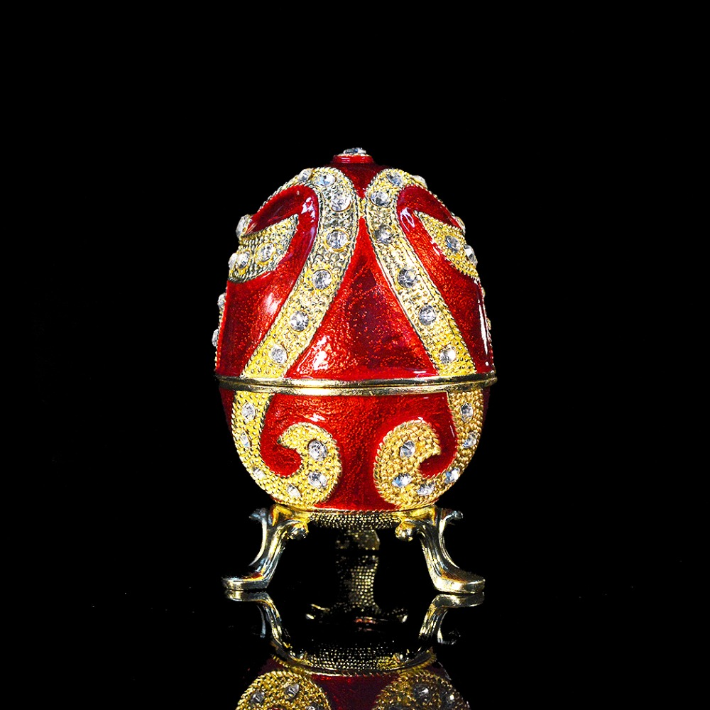 QIFU new arrive red faberge egg trinket box for gift faberge egg crystals jewellery jewelry trinket ring gift box egg trinket vintage decorations hinged footed egg shape trinket box