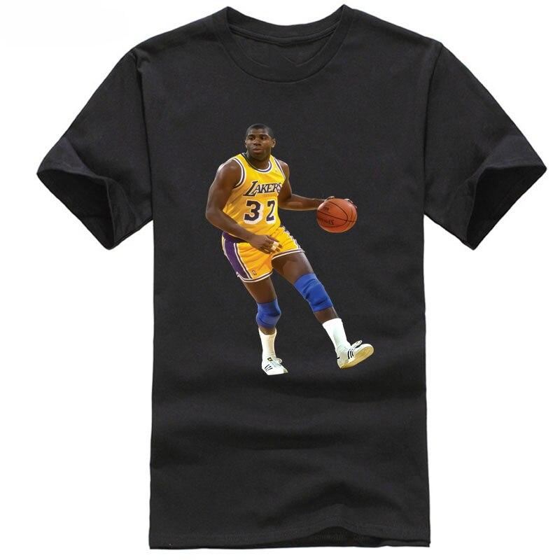 Nuevo 2018 algodón de manga corta Camiseta Magic Johnson Basketbalerl jugador Los Angeles camiseta