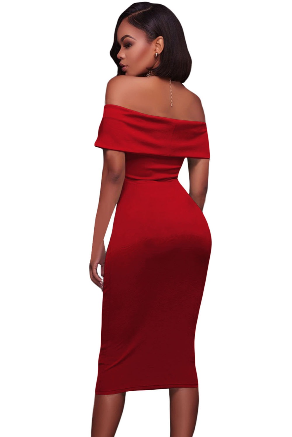 Red-Ruched-Off-Shoulder-Bodycon-Midi-Dress-LC61507-3-2