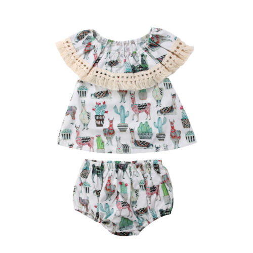 2PCS Newborn Toddle Infant Baby Girls Outfits Clothes Tassel Collar Sleeveless Tops Shirt Shorts Bottoms Outfits Set 0-24M