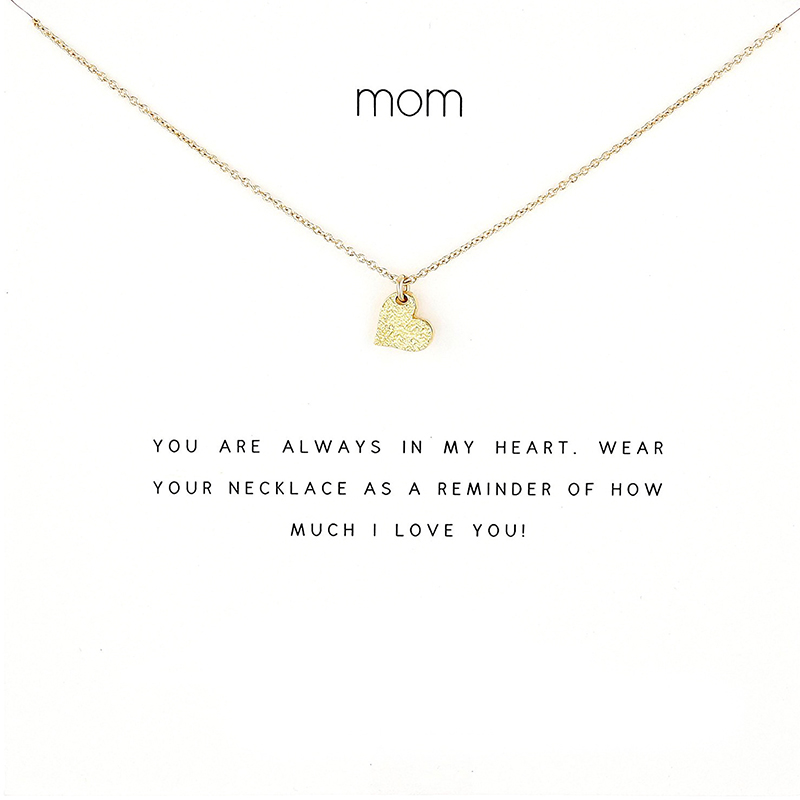 2018 New Love Heart Pendant Short Chain Choker Necklace For Women Golden wish necklace with card Jewelry As gift mom image