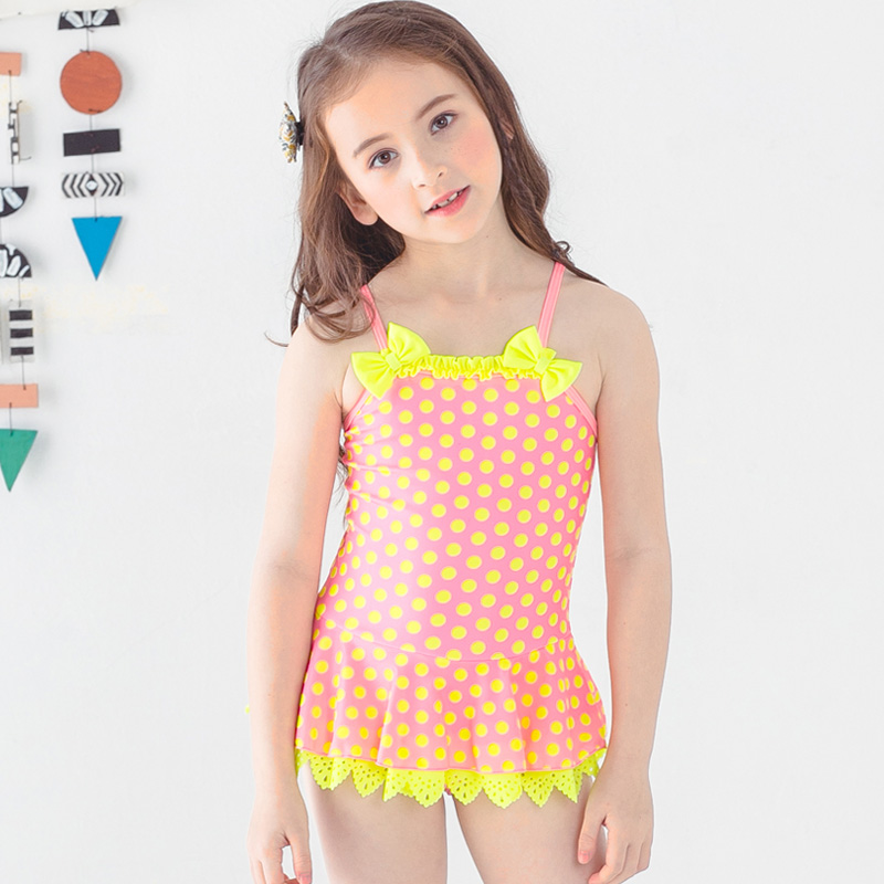 05cecc622d003 Ms.Shang 2~12 Years Baby Girl Swimsuit 2018 Children Swimwear One Piece  Swimsuits Toddler Girls Bathing Suit Dot Swim Suits Blue-in Children s One- Piece ...