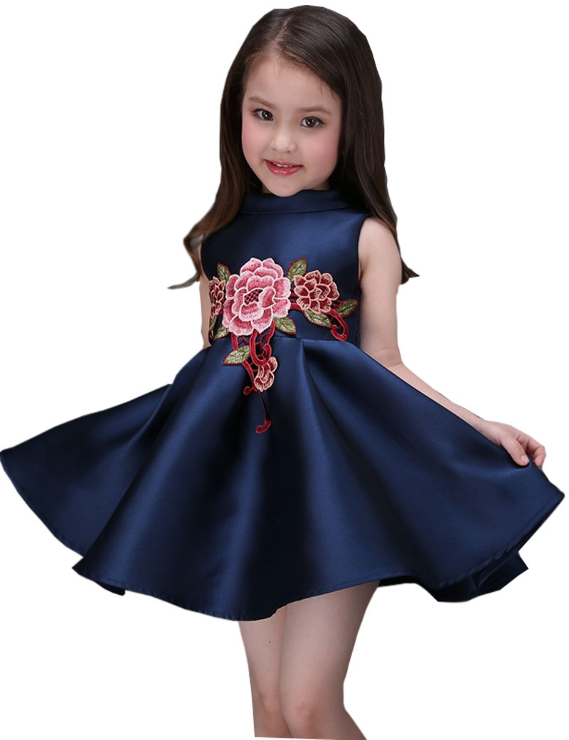 2017 Princess Girls Floral Dresses Summer Baby girl Rose Flower Pattern Dress Kids Children Party Dresses Vestidos 3-12T hot sale floral dresses summer baby rose flower pattern dress kids children party dresses girls vestidos 2016 new princess girls
