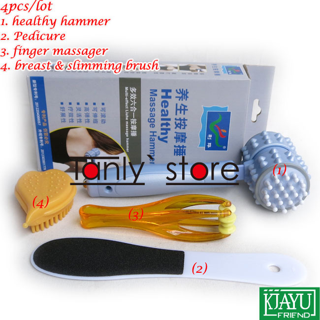 HOT! Wholesale & Retail massage relax tool Double Side Pedicure finger massager healthy hammer breast & slimming brush 4pcs/set excellent quality 2 rollers relax finger joints hand massager fingers massage tool random color