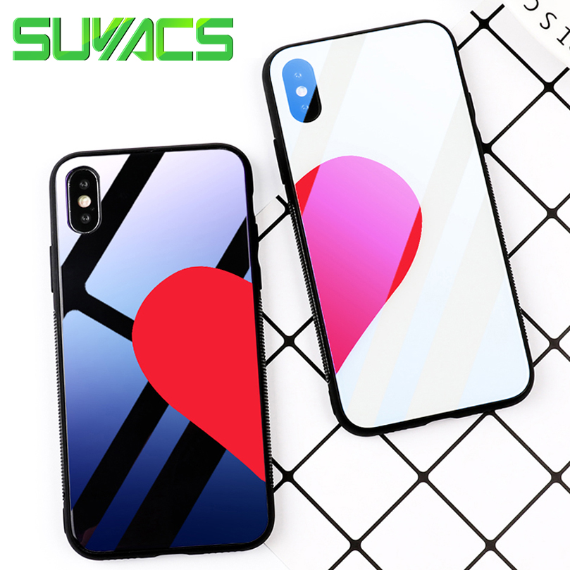 SUYACS Glossy Blu-ray Tempered Glass Couple Phone Case For iPhone 6 6S 7 8 Plus X Shiny Red Hearts Soft TPU + PC Cover Cases Bag
