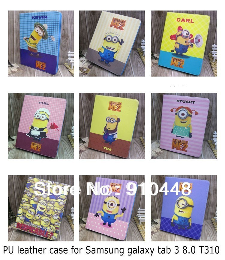 Fashion Cartoon Despicable Me Minion Character Leather Stand Case Cover For Samsung Galaxy Tab 3 8.0 T310 T311 with screen film