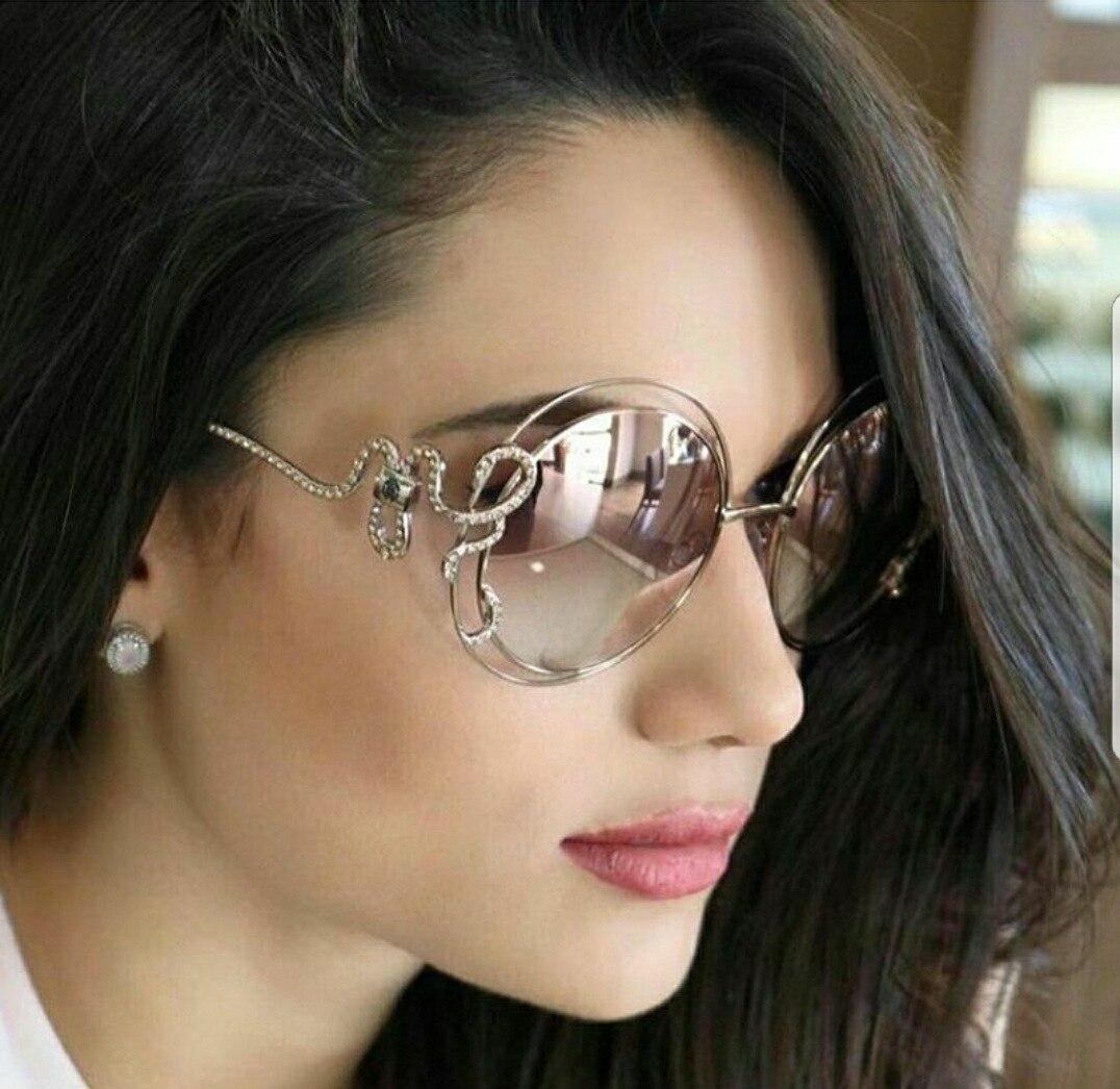 Snake Designer Luxury Sunglasses Women Fashion Unique Rhinestone UV400 Vintage Glasses 46821