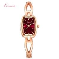 KIMIO 럭셔리 여성 팔찌 시계 스테인레스 스틸 중공 골드 도금 여성 석영 2017 시계 Montre 팜므 상자