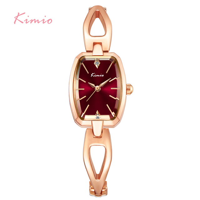 KIMIO Luxury Women Bracelet Watches Stainless Steel Hollow Rose Gold Plated Female Quartz Watch 2017 Montre Femme With Box