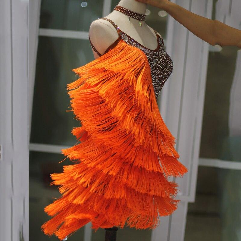 Beautiful! Kids Dresses For Girls Rhinestone Fringe Dress Thick Tassels Dance Wear Tango Dress Competition Latin Dress BL1662
