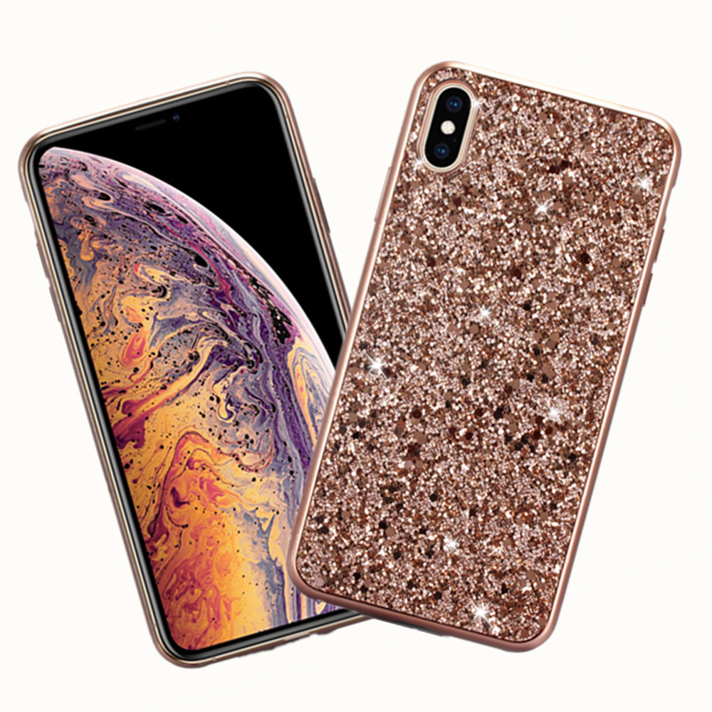 ZKFYS Luxury Silicone Glitter Case For iPhone X XS Max XR Bling Flash Powder Phone 7 8 Plus