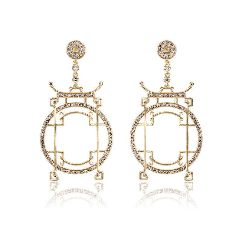 Ciliy 2018 Chinese Arch City Gate Design Big Drop Earrings For Women Luxury AAA CZ Zircon Earrings Fashion Wedding Jewelry X4451