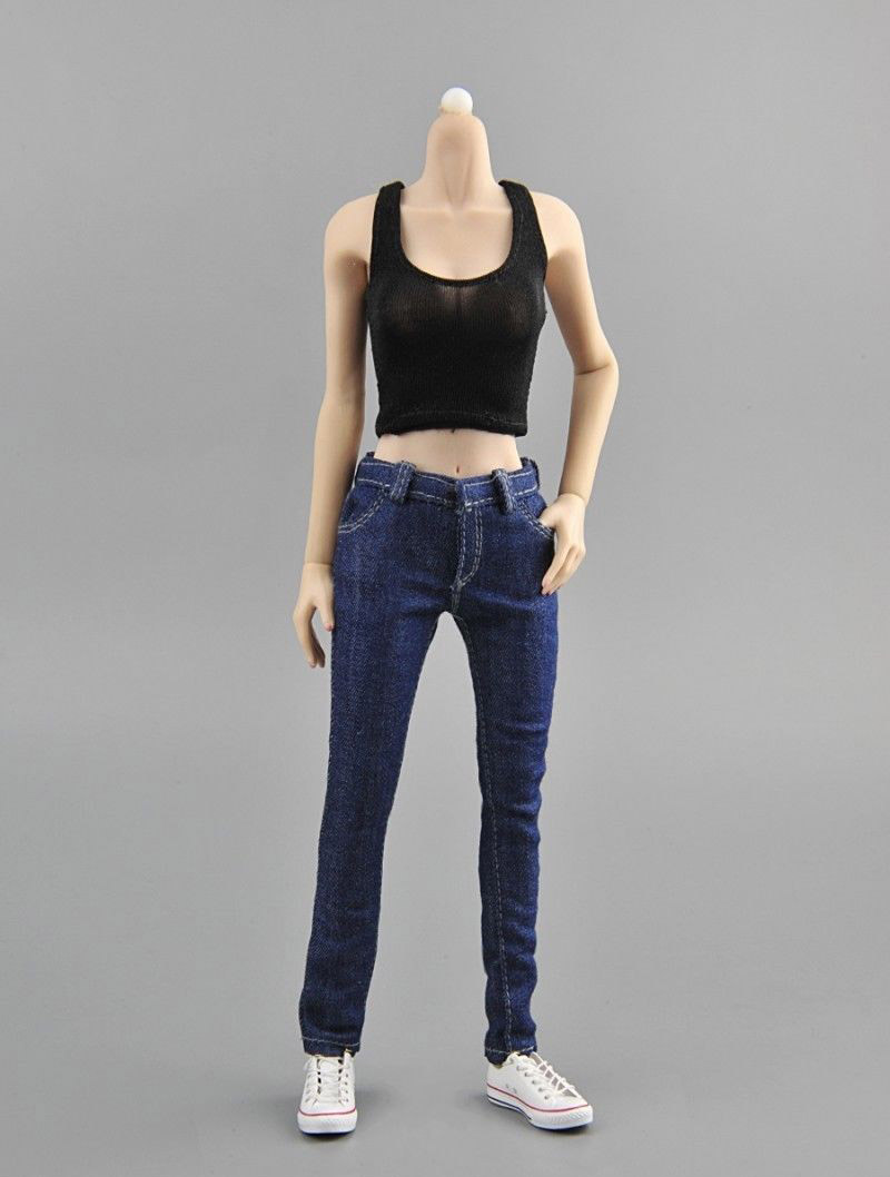 1 6 scale women 39 s blue plaid shirt amp jeans amp vest denim clothing sets female clothes suit for 12 39 39 lady girl action figure body in Action amp Toy Figures from Toys amp Hobbies