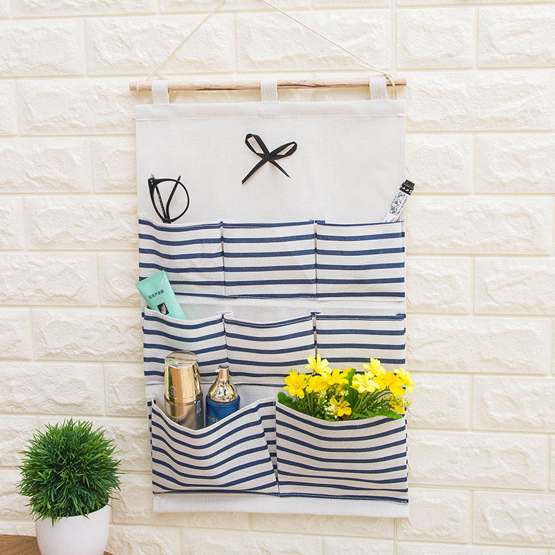 2019 NEW Organizador Stripe Foldable Hanging Makeup Organizer Bathroom Home Hang Storage Bag Wall Debris Laundry Basket-in Hanging Organizers from Home & Garden