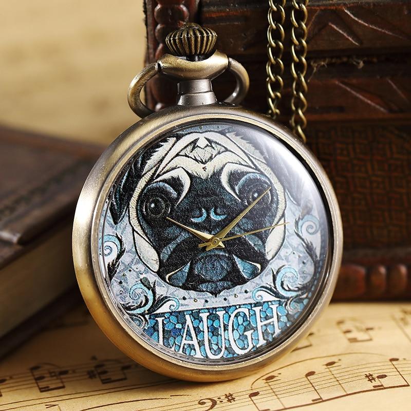 Unique Bronze Pocket Watch Men Elegant Women Pendant Necklace Chain Steampunk LAUGH Ladies Clock Quartz Pocket Watches For Gifts